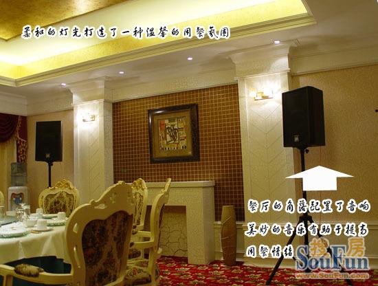 餐厅地面铺设了红色的地毯,颇显高贵气质。一般来说餐厅的装饰主要配置一些挂画、大的水晶吊灯以及一些具有装饰效果的摆设物,同时角落还可以摆放音响,这样在就餐的时候就可以欣赏优美音乐,有利于提高用餐情绪。 设计师提醒:餐厅的灯光越柔和、越含蓄越好,柔和含蓄的灯光能使人融入温馨浪漫的情境中,使精神和身体更加放松与愉快。