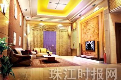 黄色欧式的百褶窗帘,更显得富丽堂皇